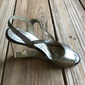 Chanel Quilted Metallic Open Toe Heels Size 7.5